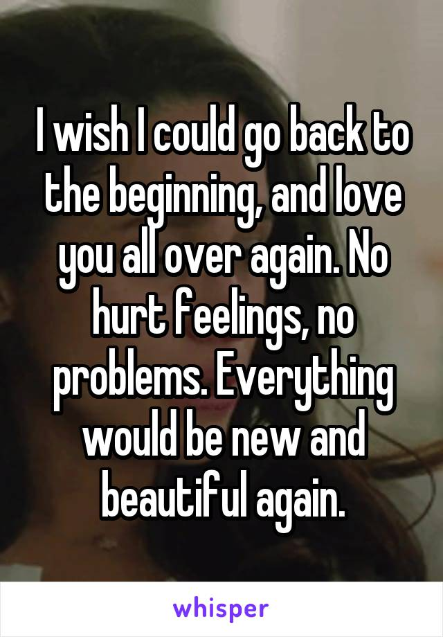 I wish I could go back to the beginning, and love you all over again. No hurt feelings, no problems. Everything would be new and beautiful again.