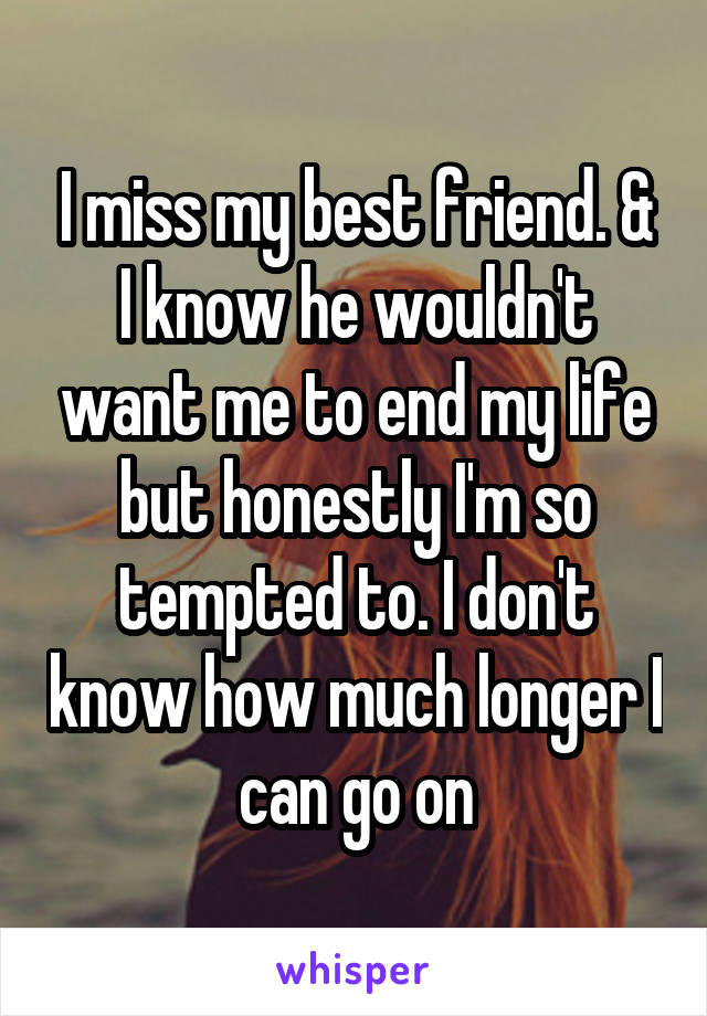 I miss my best friend. & I know he wouldn't want me to end my life but honestly I'm so tempted to. I don't know how much longer I can go on