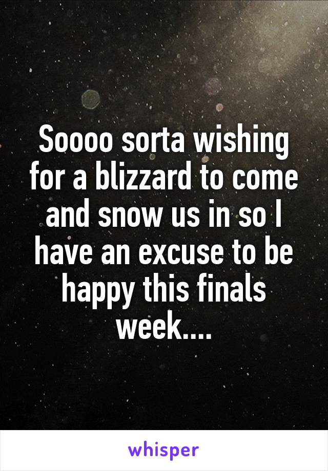 Soooo sorta wishing for a blizzard to come and snow us in so I have an excuse to be happy this finals week....