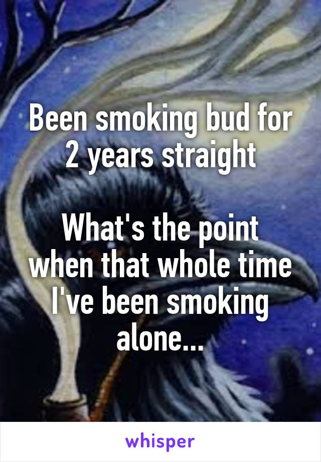 Been smoking bud for 2 years straight  What's the point when that whole time I've been smoking alone...