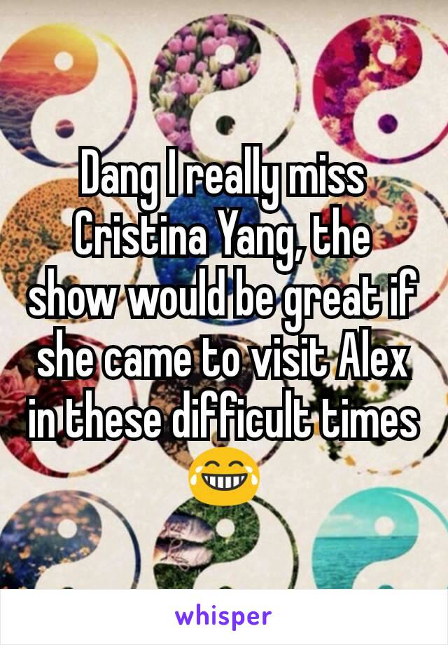Dang I really miss Cristina Yang, the show would be great if she came to visit Alex in these difficult times 😂