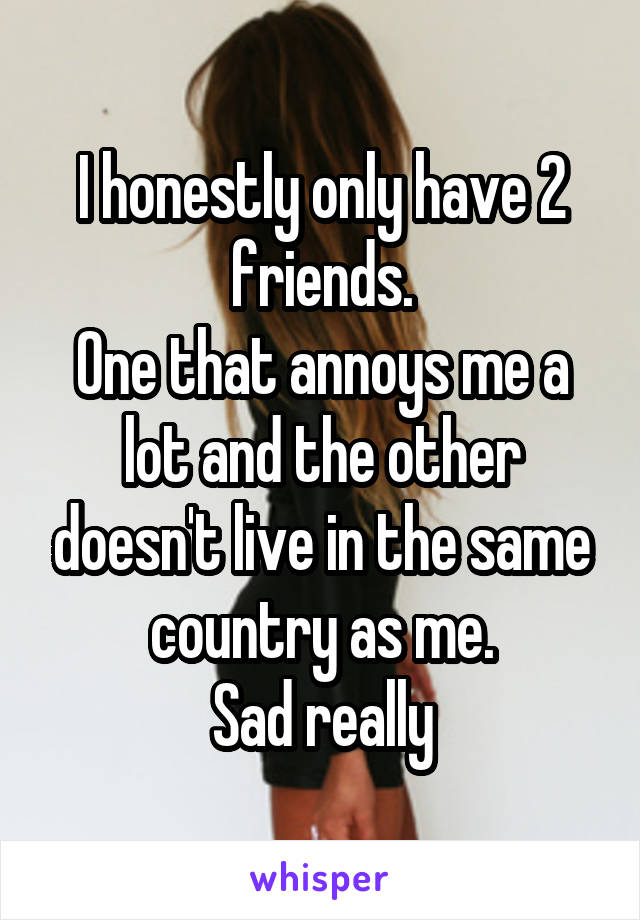 I honestly only have 2 friends. One that annoys me a lot and the other doesn't live in the same country as me. Sad really