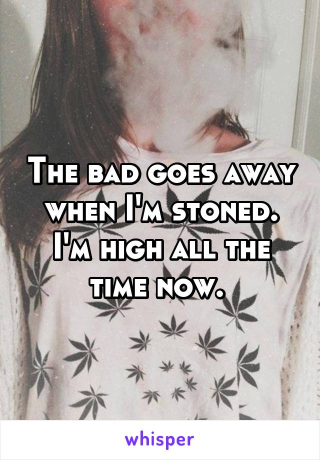 The bad goes away when I'm stoned. I'm high all the time now.