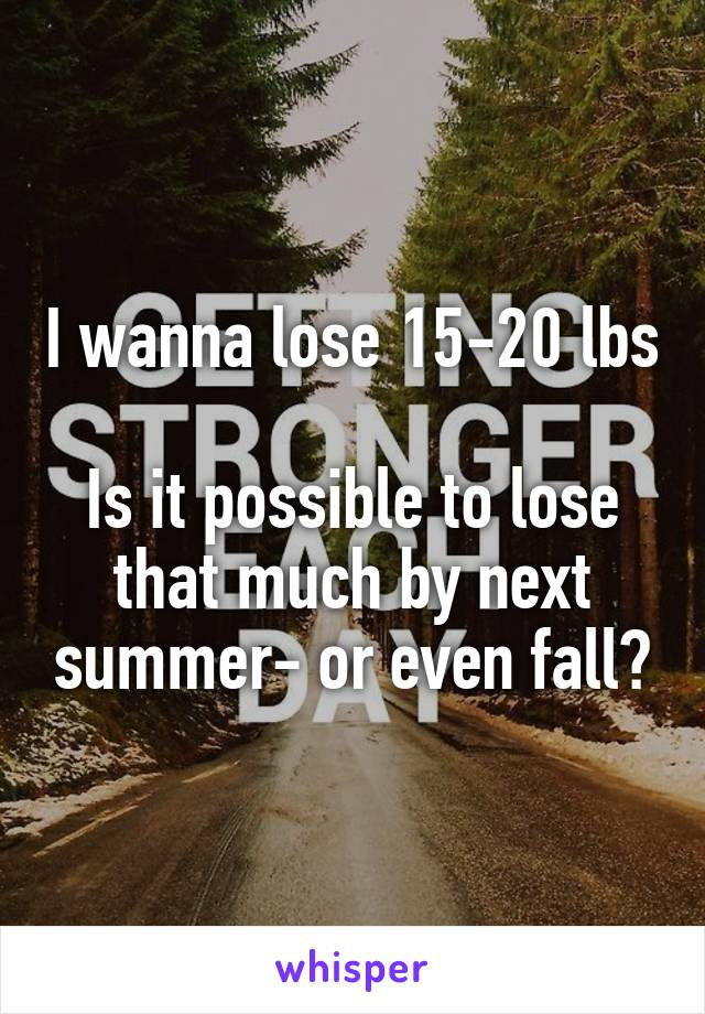 I wanna lose 15-20 lbs  Is it possible to lose that much by next summer- or even fall?