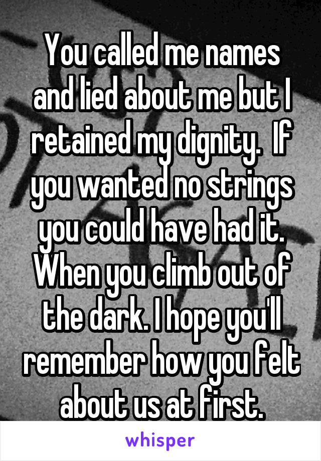 You called me names and lied about me but I retained my dignity.  If you wanted no strings you could have had it. When you climb out of the dark. I hope you'll remember how you felt about us at first.