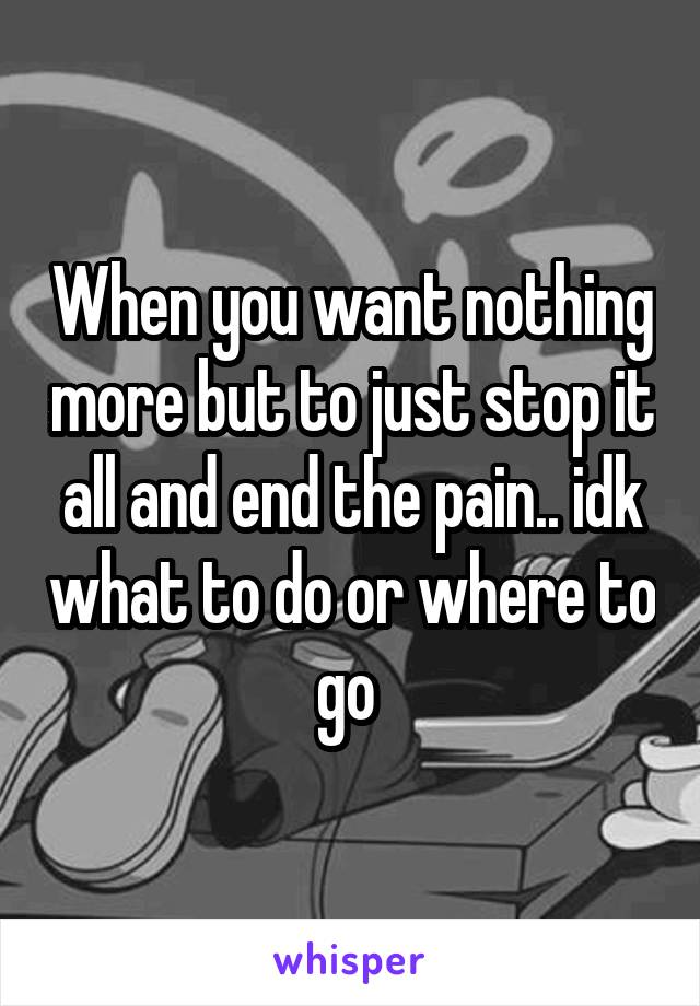 When you want nothing more but to just stop it all and end the pain.. idk what to do or where to go
