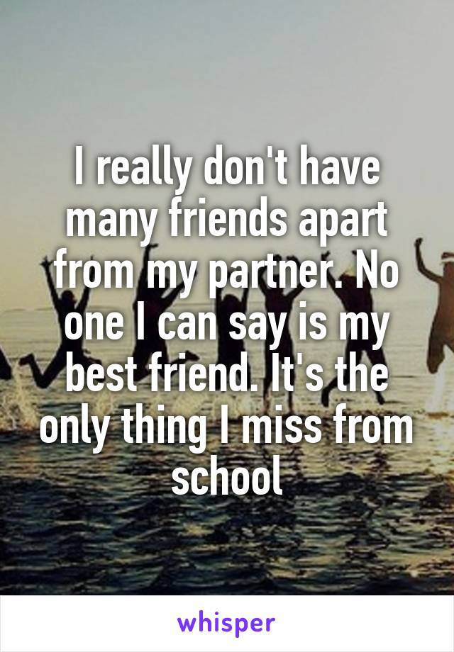 I really don't have many friends apart from my partner. No one I can say is my best friend. It's the only thing I miss from school