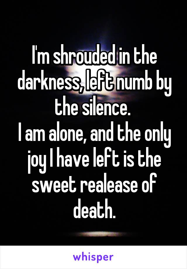 I'm shrouded in the darkness, left numb by the silence.  I am alone, and the only joy I have left is the sweet realease of death.