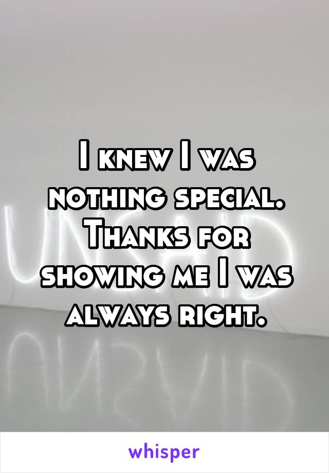 I knew I was nothing special. Thanks for showing me I was always right.