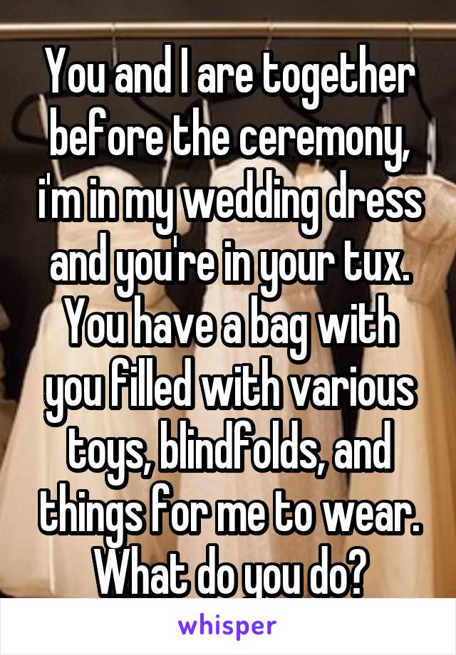 You and I are together before the ceremony, i'm in my wedding dress and you're in your tux. You have a bag with you filled with various toys, blindfolds, and things for me to wear. What do you do?