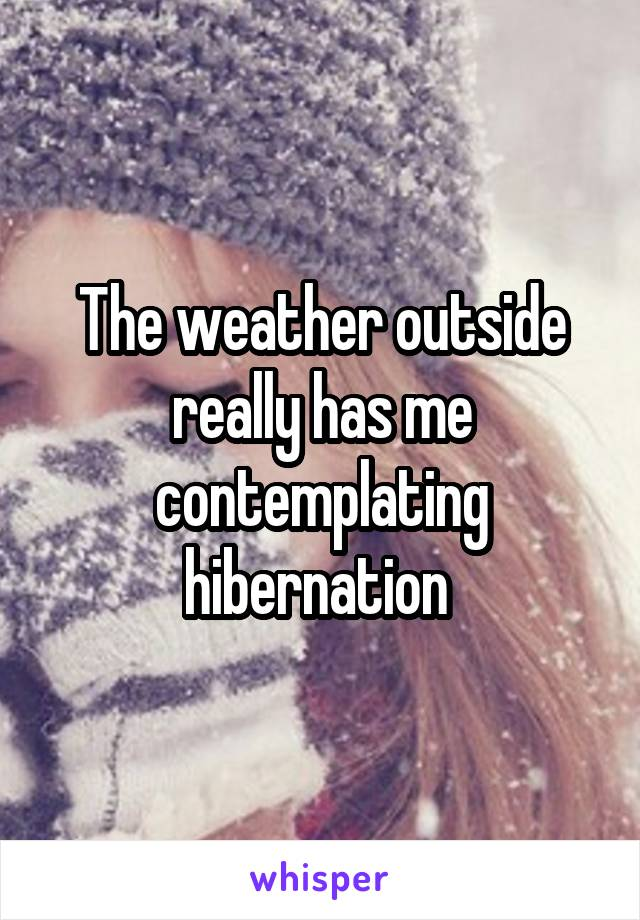 The weather outside really has me contemplating hibernation