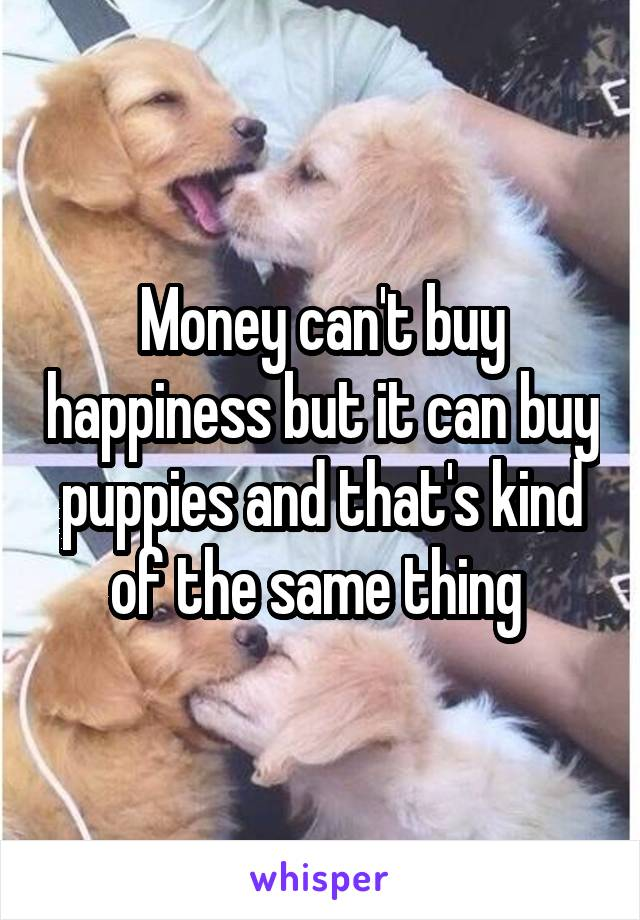 Money can't buy happiness but it can buy puppies and that's kind of the same thing
