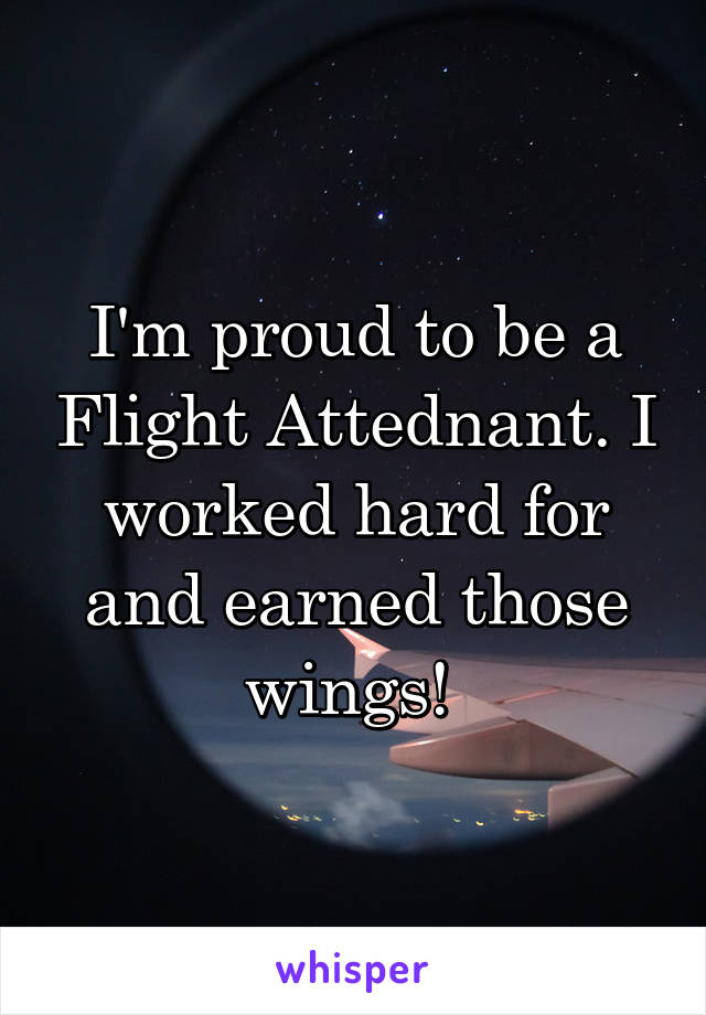I'm proud to be a Flight Attednant. I worked hard for and earned those wings!