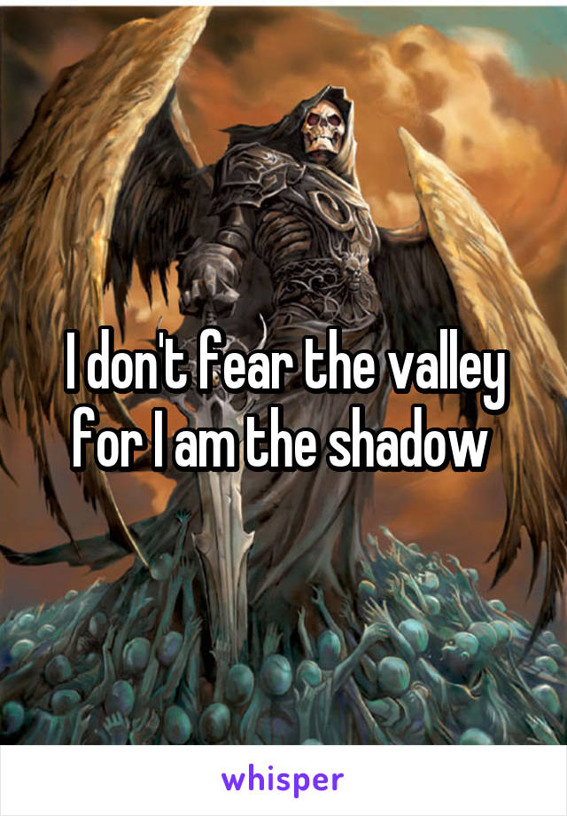 I don't fear the valley for I am the shadow