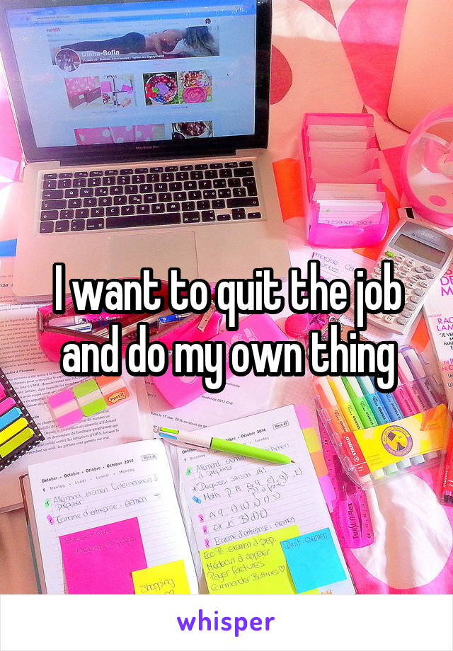 I want to quit the job and do my own thing