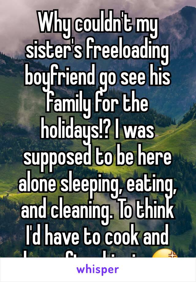 Why couldn't my sister's freeloading boyfriend go see his family for the holidays!? I was supposed to be here alone sleeping, eating, and cleaning. To think I'd have to cook and clean after him is 😡