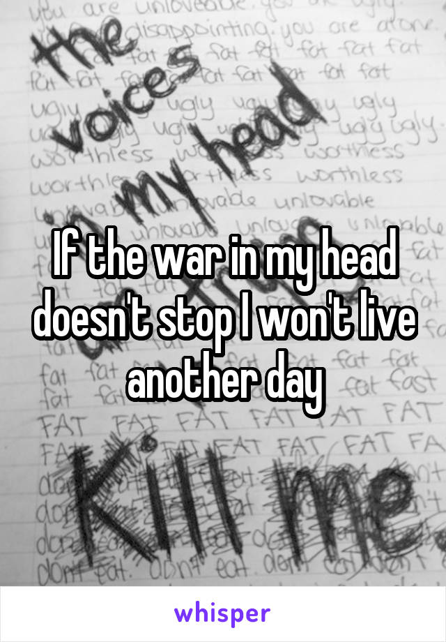 If the war in my head doesn't stop I won't live another day