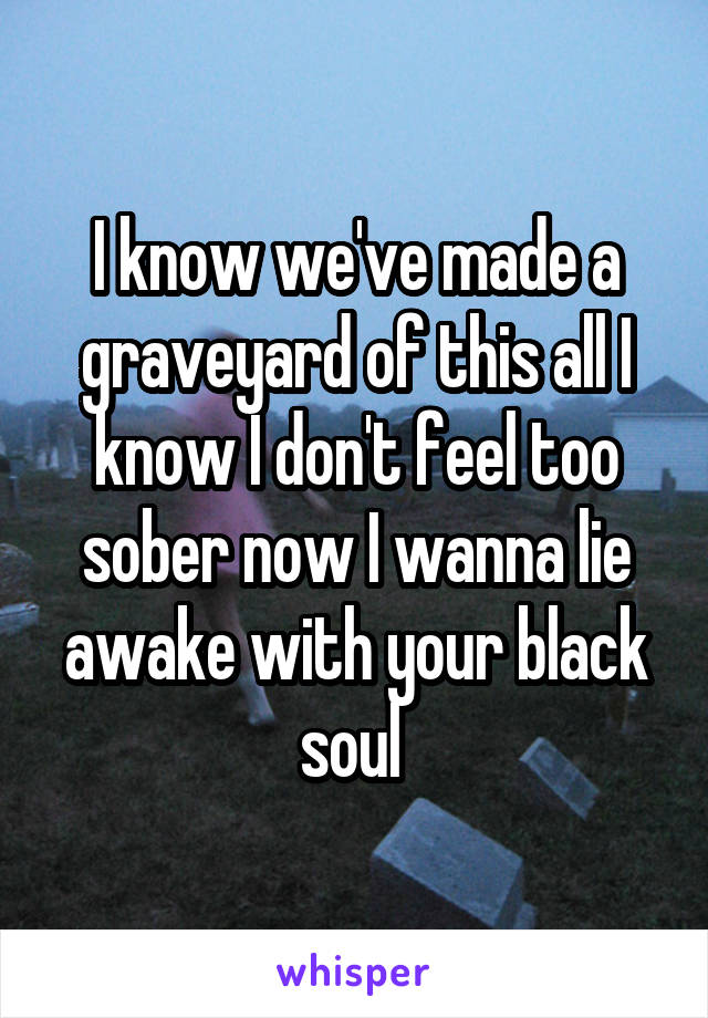 I know we've made a graveyard of this all I know I don't feel too sober now I wanna lie awake with your black soul