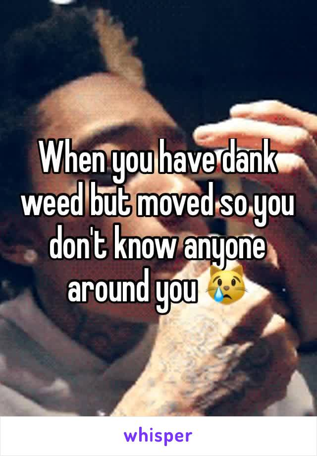 When you have dank weed but moved so you don't know anyone around you 😿