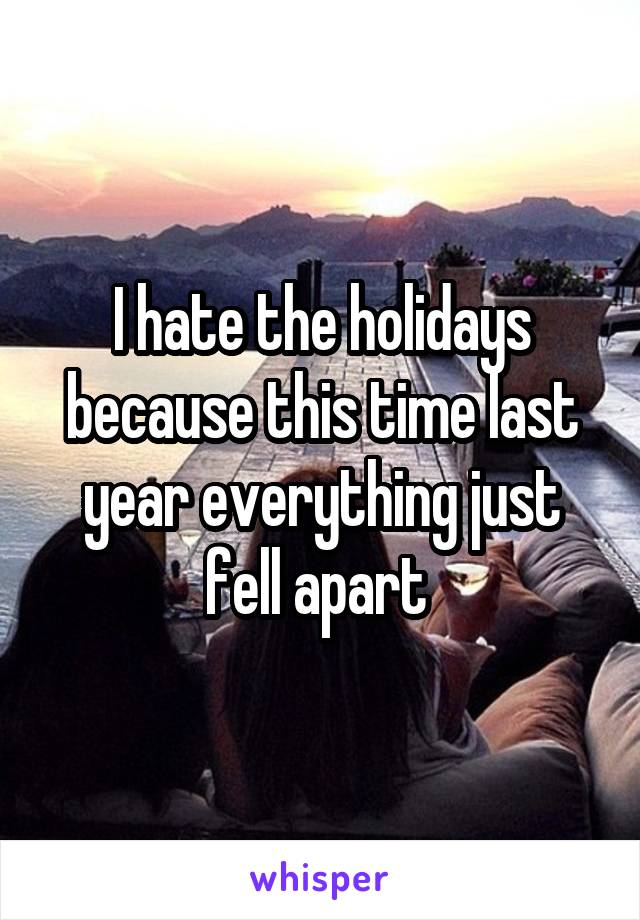 I hate the holidays because this time last year everything just fell apart