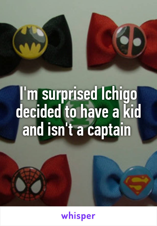 I'm surprised Ichigo decided to have a kid and isn't a captain