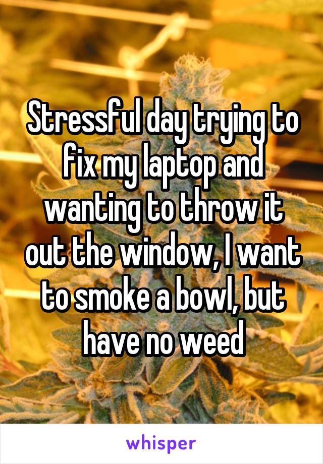Stressful day trying to fix my laptop and wanting to throw it out the window, I want to smoke a bowl, but have no weed