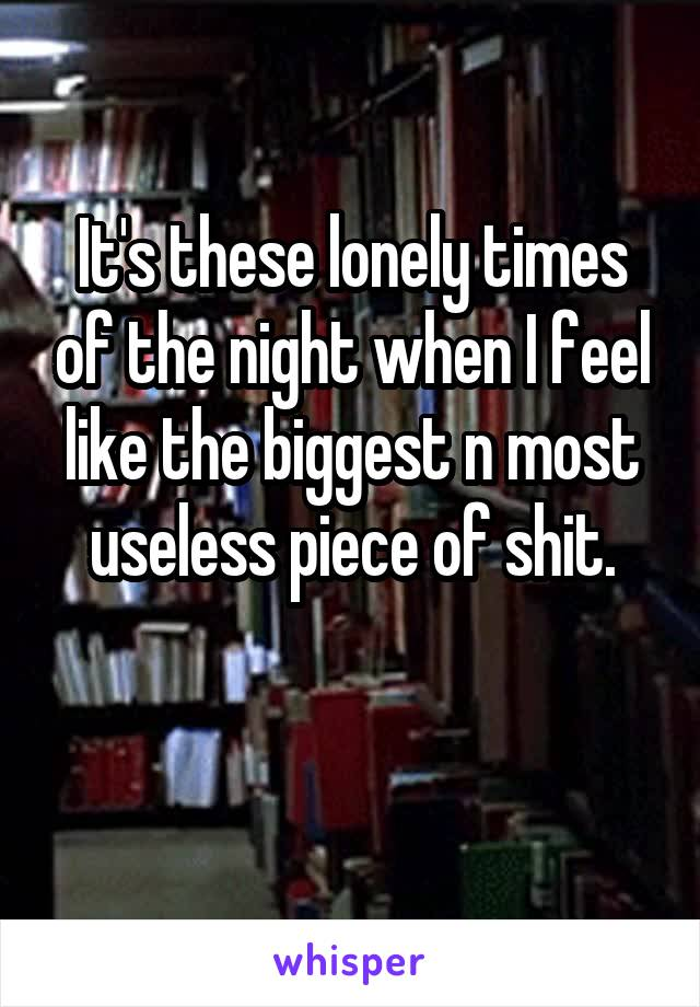 It's these lonely times of the night when I feel like the biggest n most useless piece of shit.