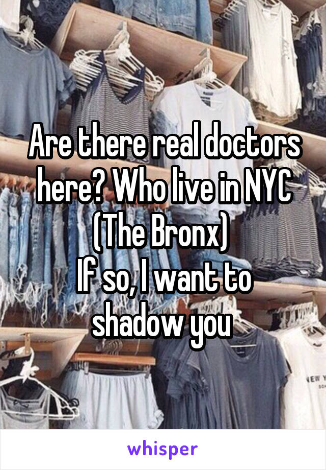 Are there real doctors here? Who live in NYC (The Bronx)  If so, I want to shadow you