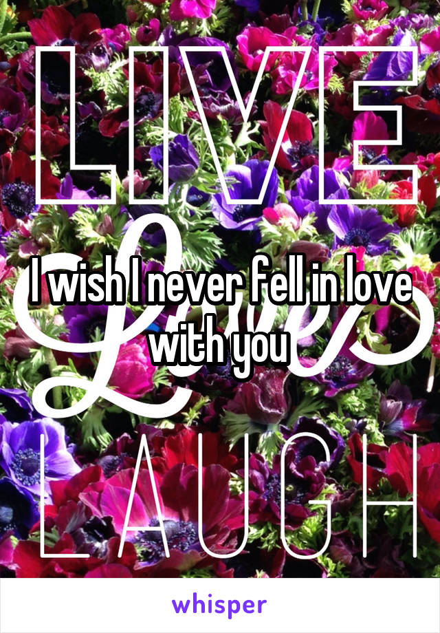 I wish I never fell in love with you