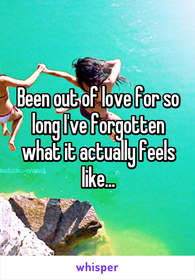 Been out of love for so long I've forgotten what it actually feels like...