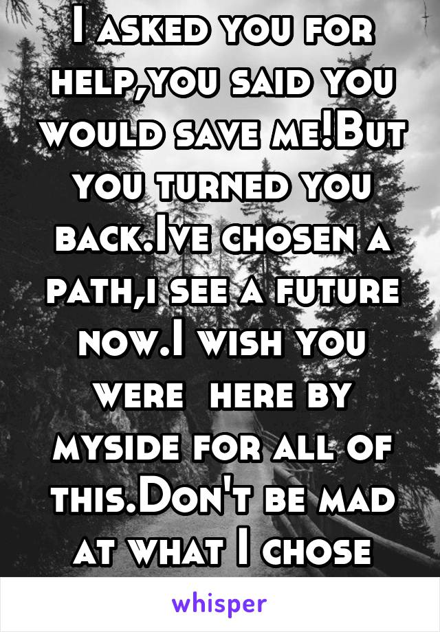 I asked you for help,you said you would save me!But you turned you back.Ive chosen a path,i see a future now.I wish you were  here by myside for all of this.Don't be mad at what I chose understand it!