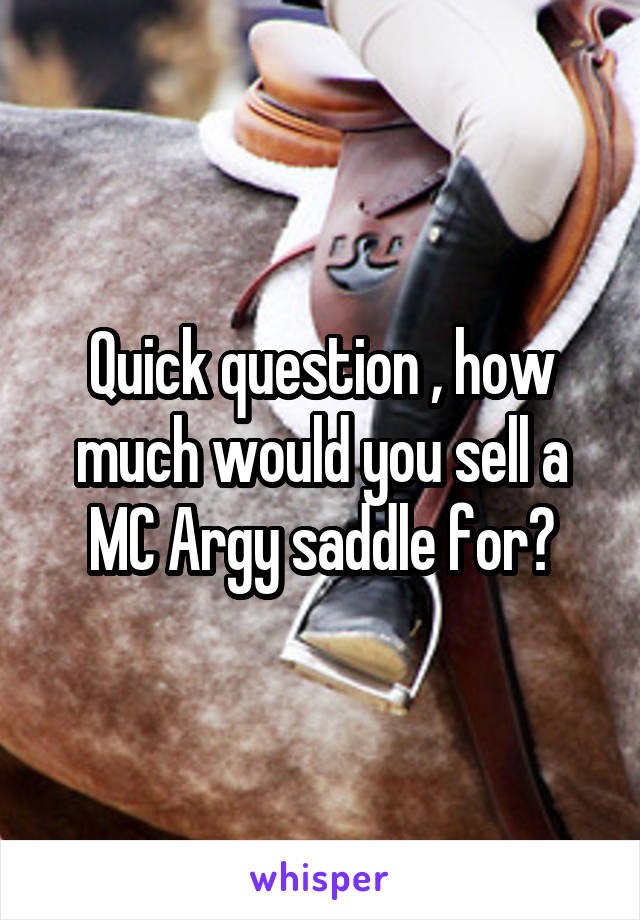 Quick question , how much would you sell a MC Argy saddle for?