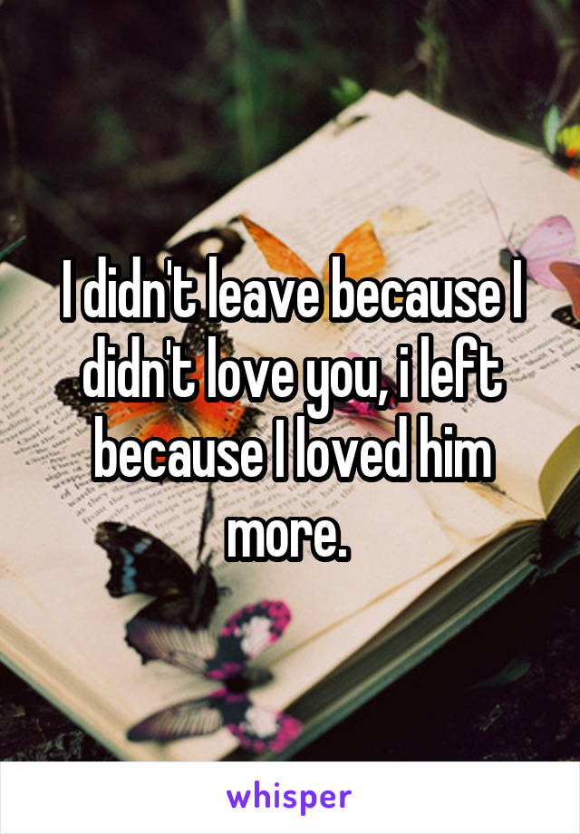 I didn't leave because I didn't love you, i left because I loved him more.