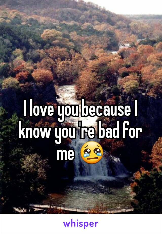 I love you because I know you 're bad for me 😢
