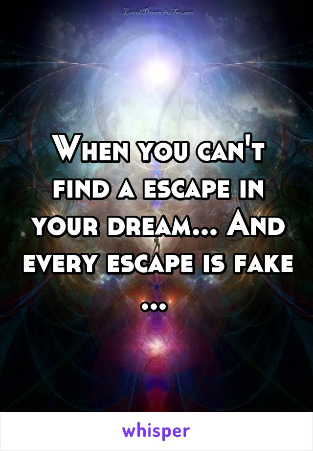 When you can't find a escape in your dream... And every escape is fake ...