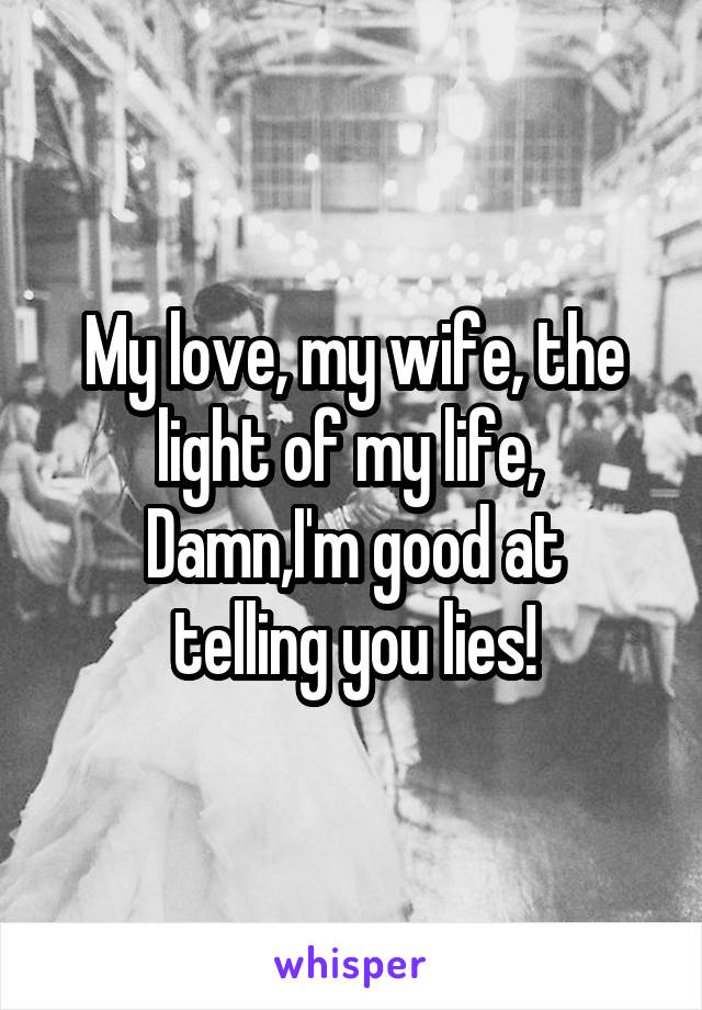 My love, my wife, the light of my life,  Damn,I'm good at telling you lies!