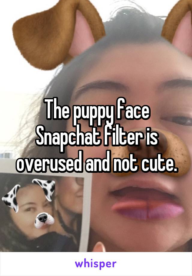 The puppy face Snapchat filter is overused and not cute.