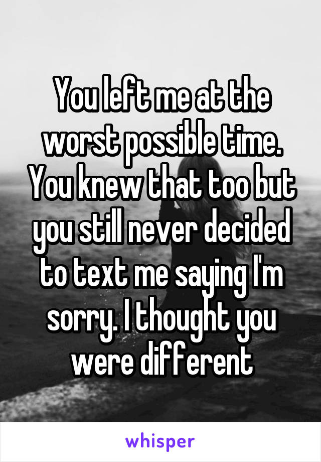 You left me at the worst possible time. You knew that too but you still never decided to text me saying I'm sorry. I thought you were different