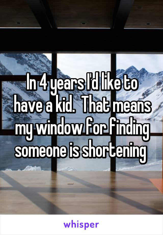 In 4 years I'd like to have a kid.  That means my window for finding someone is shortening