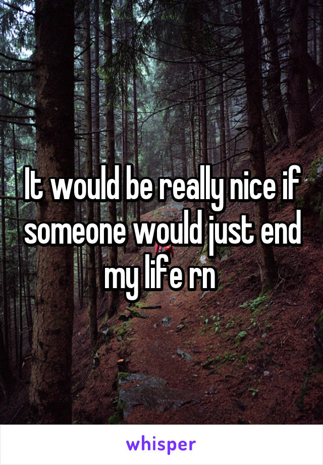 It would be really nice if someone would just end my life rn