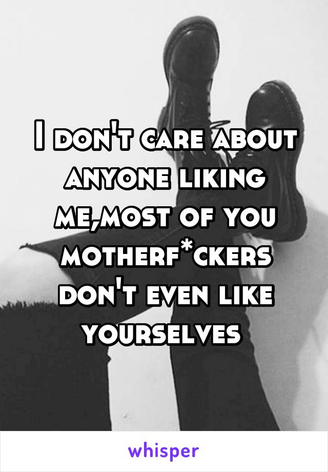 I don't care about anyone liking me,most of you motherf*ckers don't even like yourselves