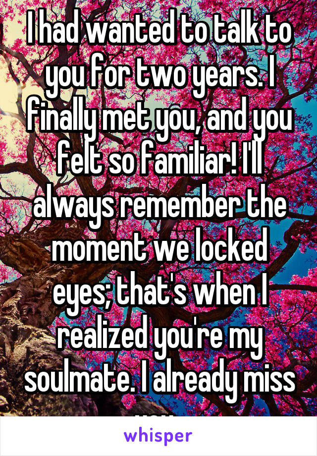 I had wanted to talk to you for two years. I finally met you, and you felt so familiar! I'll always remember the moment we locked eyes; that's when I realized you're my soulmate. I already miss you.