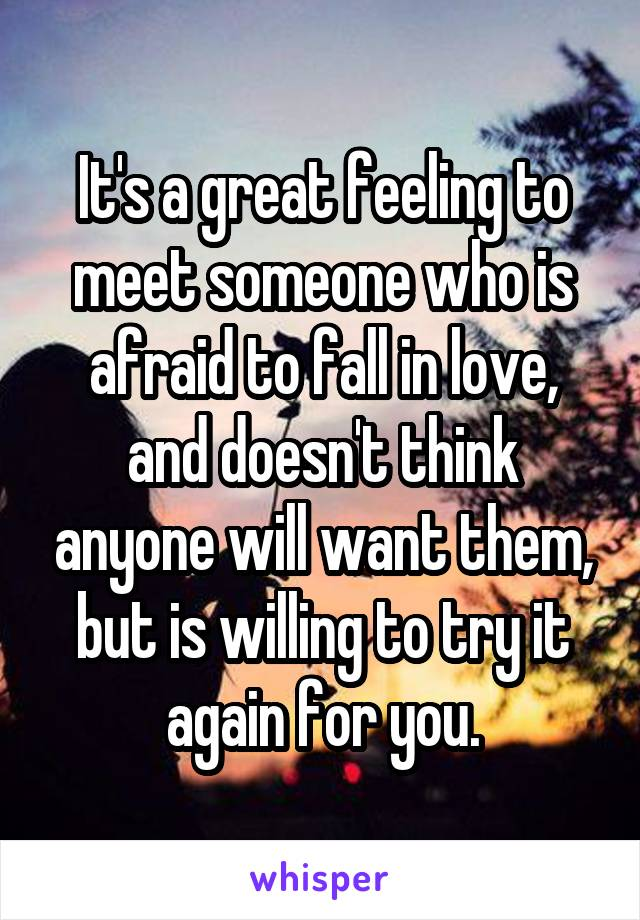 It's a great feeling to meet someone who is afraid to fall in love, and doesn't think anyone will want them, but is willing to try it again for you.