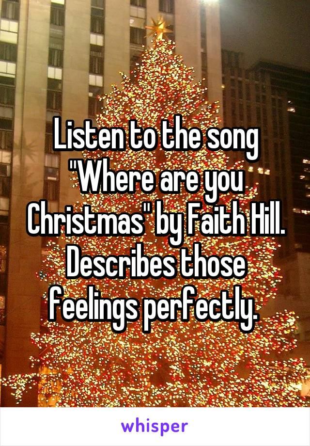 """Listen to the song """"Where are you Christmas"""" by Faith Hill. Describes those feelings perfectly."""