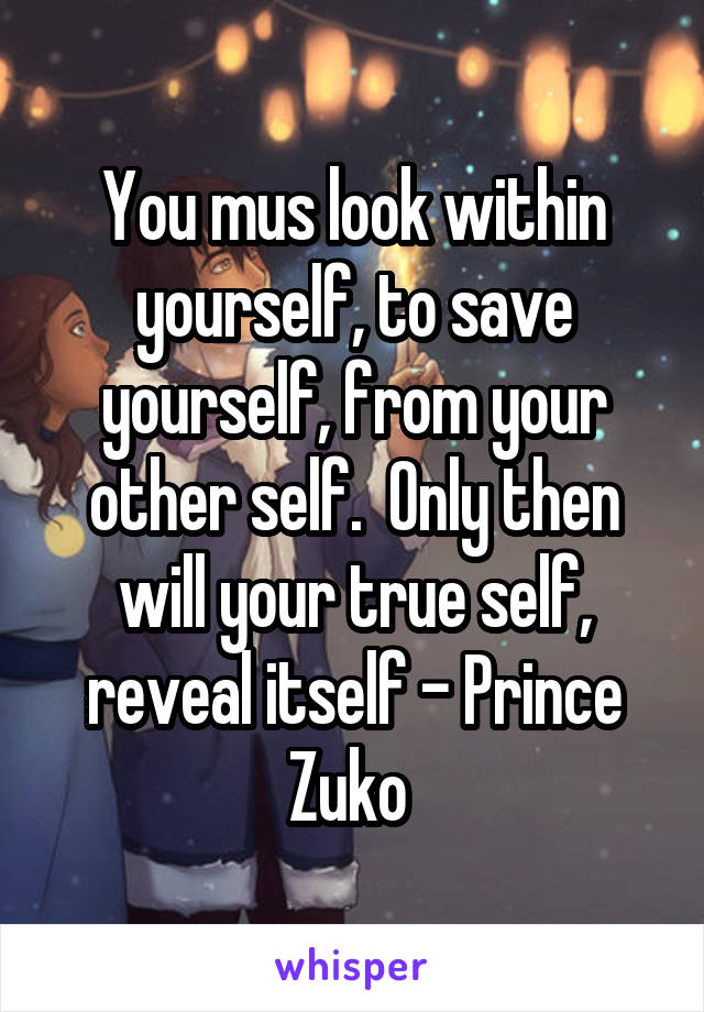 You mus look within yourself, to save yourself, from your other self.  Only then will your true self, reveal itself - Prince Zuko