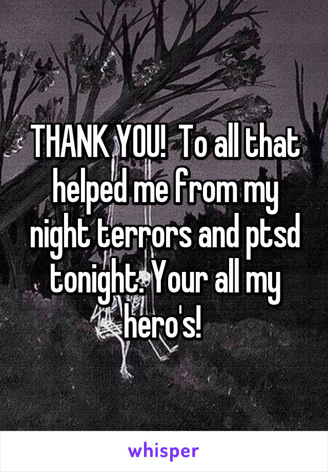 THANK YOU!  To all that helped me from my night terrors and ptsd tonight. Your all my hero's!