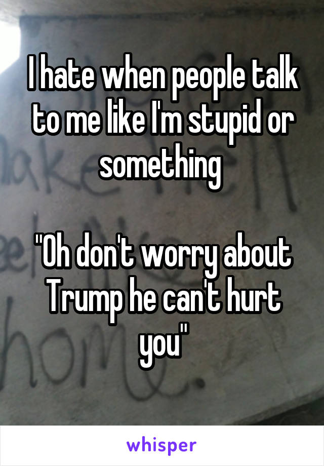 """I hate when people talk to me like I'm stupid or something   """"Oh don't worry about Trump he can't hurt you"""""""