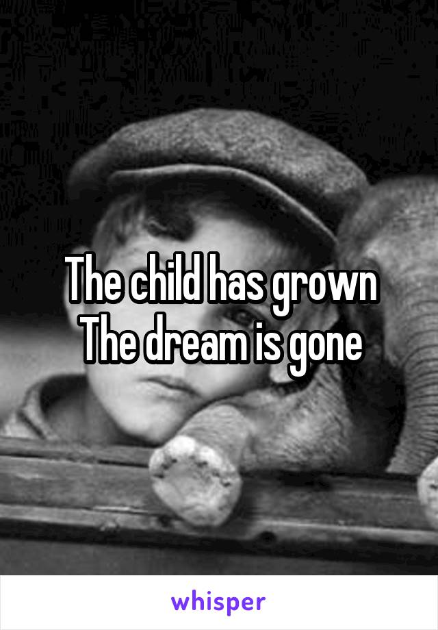 The child has grown The dream is gone