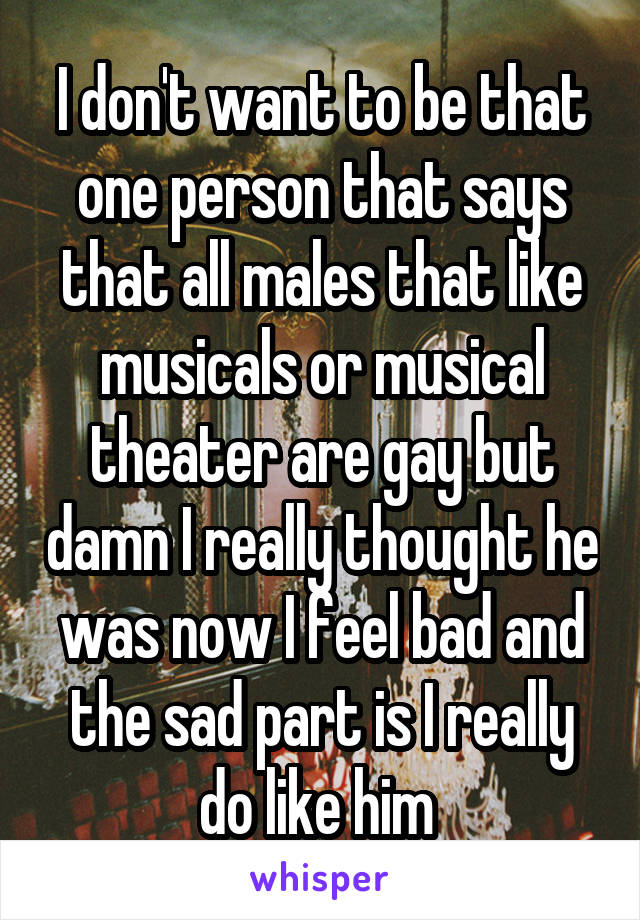 I don't want to be that one person that says that all males that like musicals or musical theater are gay but damn I really thought he was now I feel bad and the sad part is I really do like him