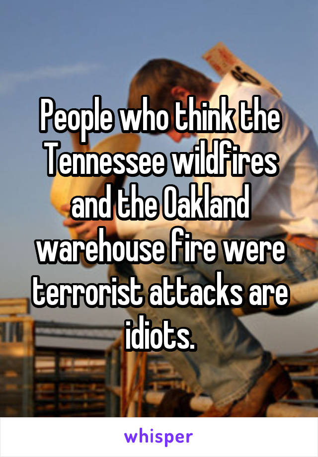 People who think the Tennessee wildfires and the Oakland warehouse fire were terrorist attacks are idiots.